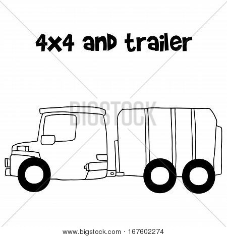 4x4 and trailer vector illustration with hand draw