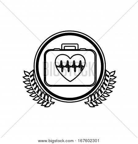 monochrome firts aid kit with symbol line of vital sign in heart inside circle with olive branches vector illustration