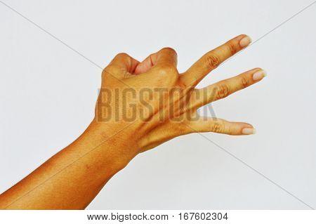 hand make three finger on white background