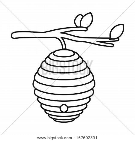 Beehive icon in outline style isolated on white background. Apairy symbol vector illustration - stock vector