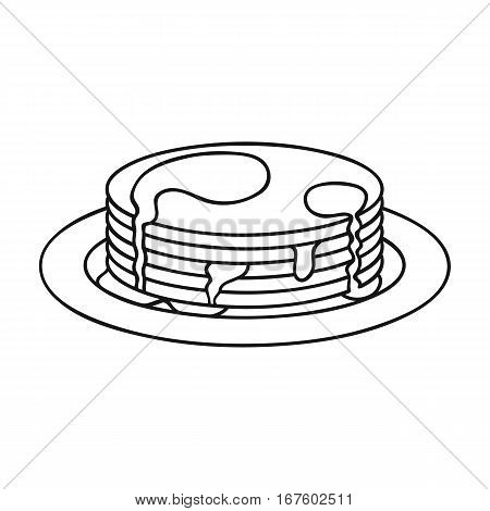 Pancakes with honey icon in outline style isolated on white background. Apairy symbol vector illustration - stock vector