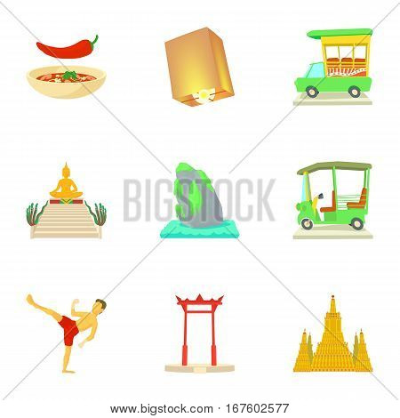 Thailand icons set. Cartoon illustration of 9 Thailand vector icons for web