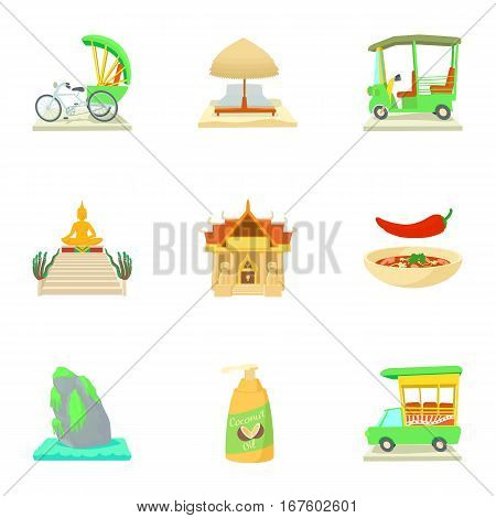 Country Thailand icons set. Cartoon illustration of 9 country Thailand vector icons for web