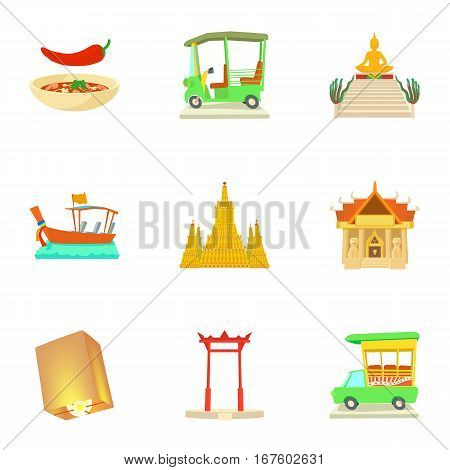 Attractions of Thailand icons set. Cartoon illustration of 9 attractions of Thailand vector icons for web