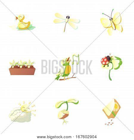 Season spring icons set. Cartoon illustration of 9 season spring vector icons for web