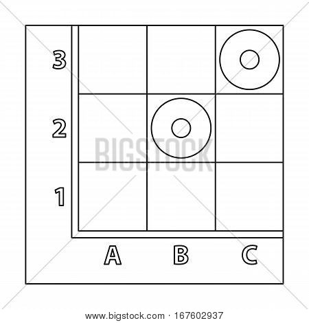 Checkers icon in outline style isolated on white background. Board games symbol vector illustration. - stock vector