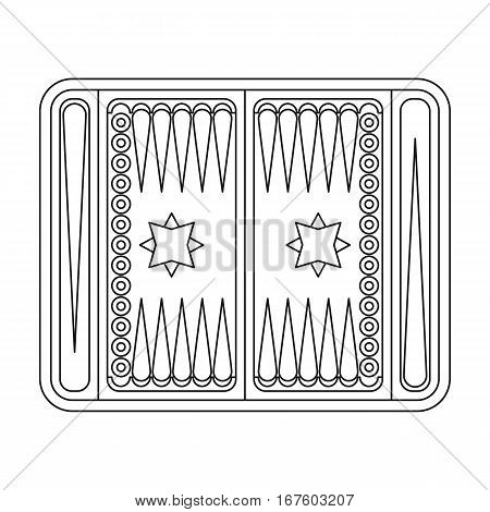 Backgammon icon in outline style isolated on white background. Board games symbol vector illustration. - stock vector