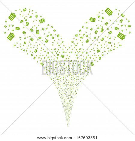 Dustbin fireworks stream. Vector illustration style is flat eco green iconic symbols on a white background. Object double fountain organized from random pictograms.