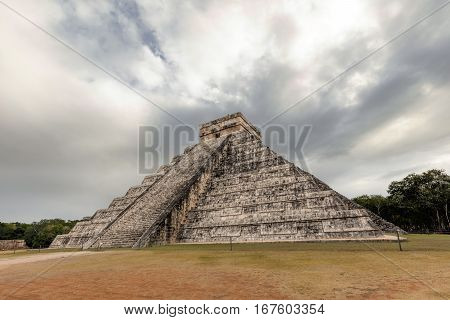 East Side Of The El Castillo Pyramid In Chichen Itza