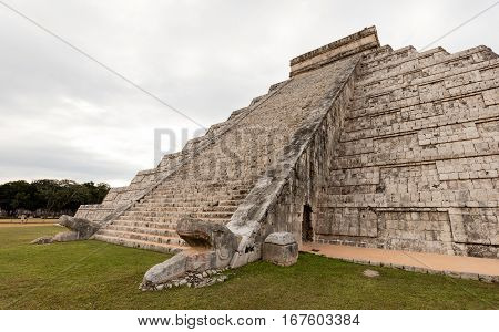 South Side Of The El Castillo Pyramid In Chichen Itza