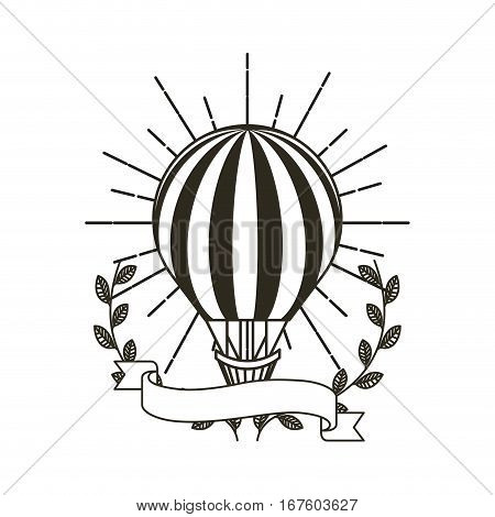 air ballon icon with decorative wreath of leaves and ribbon over white background. vector illustration