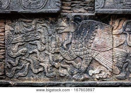 Ancient Mayan Mural Depicting An Eagle Grasping A Human Heart
