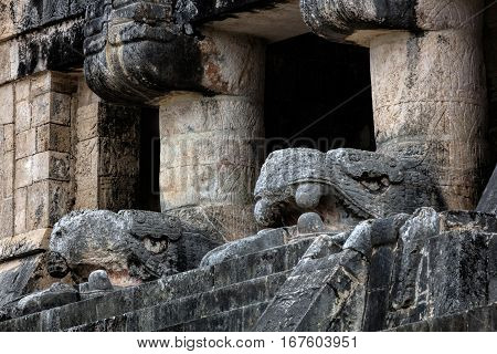 Temple Of The Jaguars With The Carved Heads Of Kukulcan