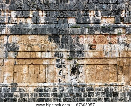 Wall Of The Temple Of The Jaguars In Chichen Itza