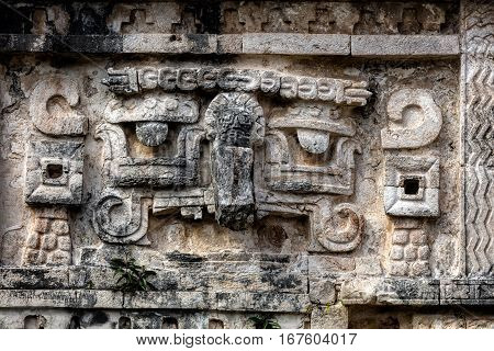 Ancient Mayan Stone Carving In Chichen Itza