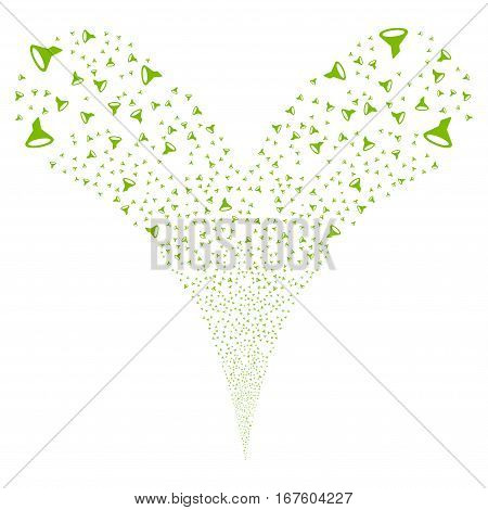 Filter fireworks stream. Vector illustration style is flat eco green iconic symbols on a white background. Object double fountain organized from random design elements.