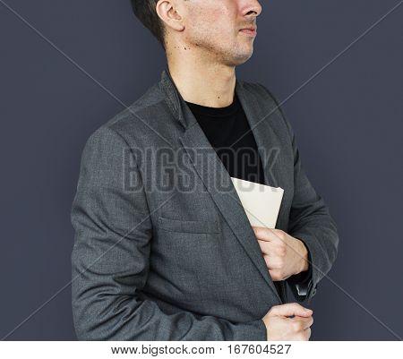 Caucasian Business Man Document Secretive