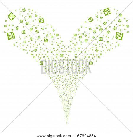 Floppy Disk fireworks stream. Vector illustration style is flat eco green iconic symbols on a white background. Object double fountain created from random pictograms.