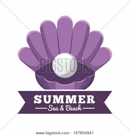 shell with a pearl over white background. sea and beach concept. colorful design. vector illustration