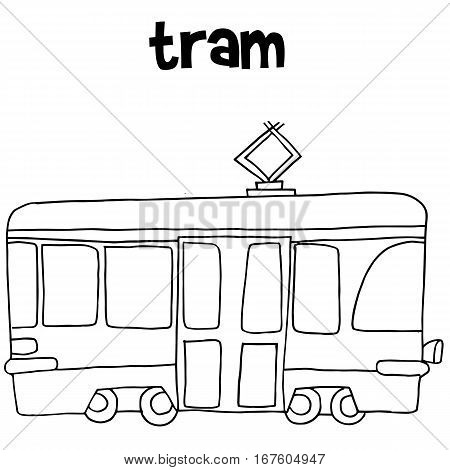Tram vector art hand draw collection stock