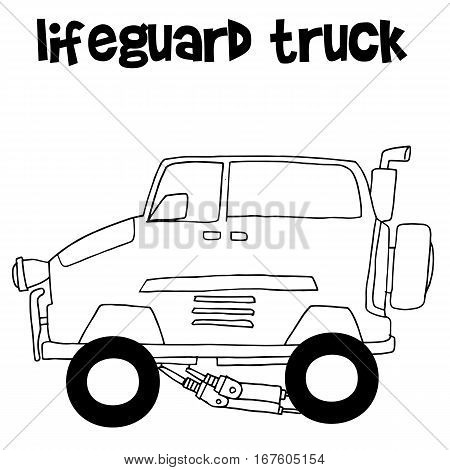 Lifeguard truck transportation vector art collection stock