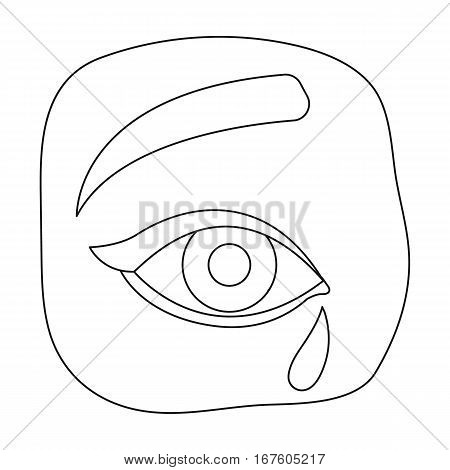 Weepping icon in outline design isolated on white background. Funeral ceremony symbol stock vector illustration. - stock vector