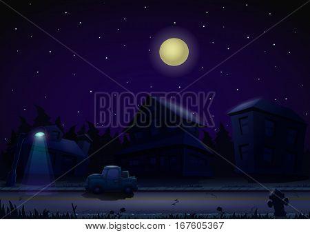 Gaming locations night suburb, gaming locations. Vector illustration.