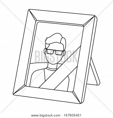 Portrait of deceased person icon in outline design isolated on white background. Funeral ceremony symbol stock vector illustration. - stock vector