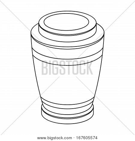 Funeral urns icon in outline design isolated on white background. Funeral ceremony symbol stock vector illustration. - stock vector