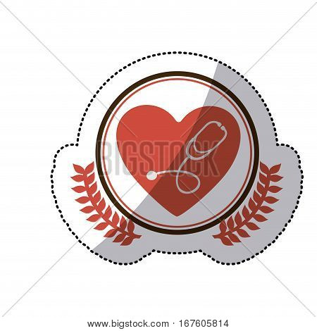 color sticker with circle with olive branches and heart with stethoscope inside vector illustration