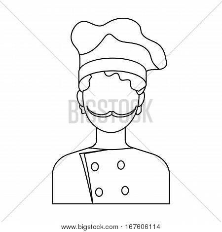Chef icon in outline style isolated on white background. Pizza and pizzeria symbol vector illustration. - stock vector