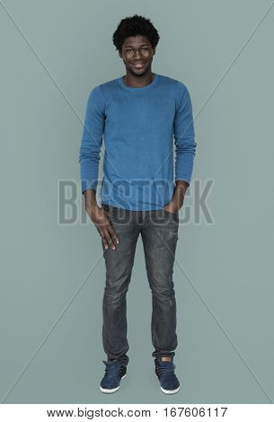 African Descent Full Body Smiling Concept