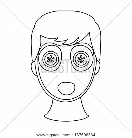 Facial mask icon in outline style isolated on white background. Skin care symbol vector illustration. - stock vector