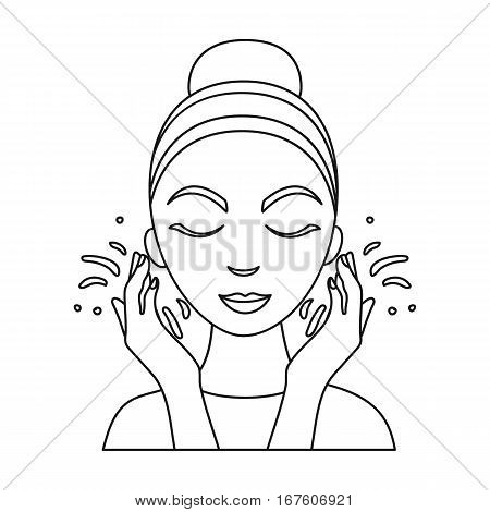 Face washing icon in outline style isolated on white background. Skin care symbol vector illustration. - stock vector