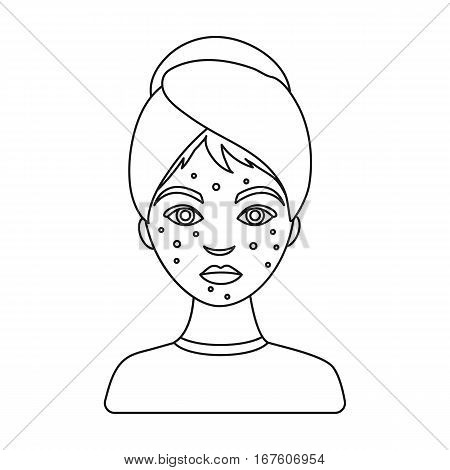 Woman with acne icon in outline style isolated on white background. Skin care symbol vector illustration. - stock vector