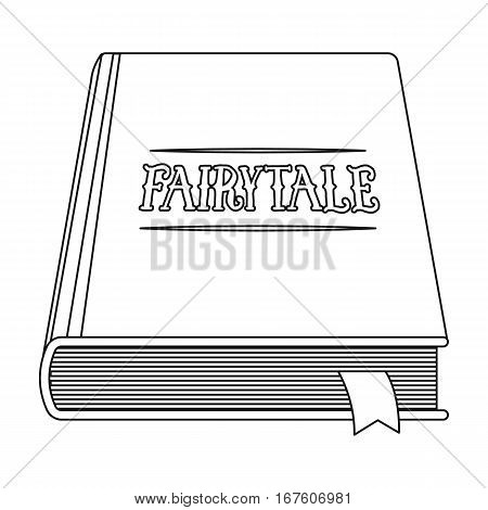 Book with fairytales icon in outline design isolated on white background. Sleep and rest symbol stock vector illustration. - stock vector