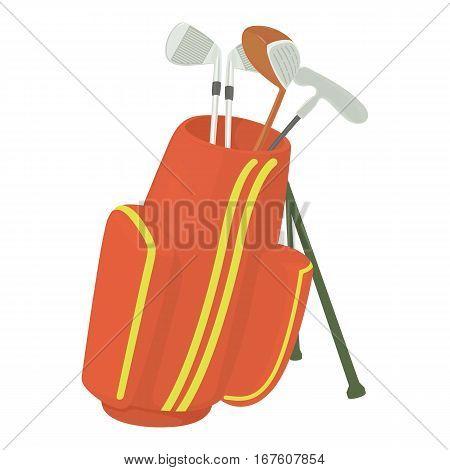Golfing bag icon. Cartoon illustration of golfing bag vector icon for web