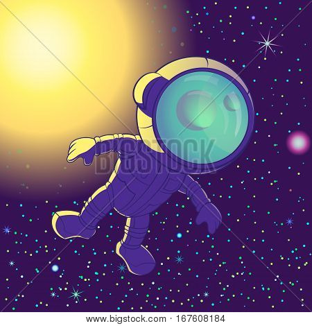 Astronaut Floating in Space, cartoon. Vector illustration.