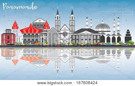 Paramaribo Skyline with Gray Buildings, Blue Sky and Reflections. Business Travel and Tourism Concept with Modern Architecture. Image for Presentation Banner Placard and Web Site.