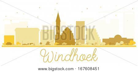 Windhoek City skyline golden silhouette. Simple flat concept for tourism presentation, banner, placard or web site. Cityscape with landmarks