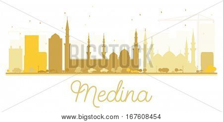 Medina City skyline golden silhouette. Simple flat concept for tourism presentation, banner, placard or web site. Cityscape with landmarks