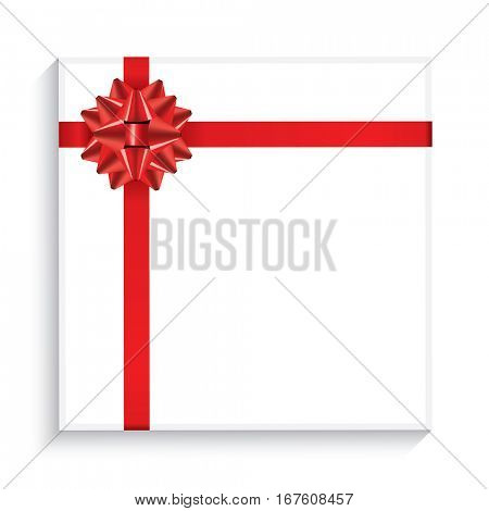 Gift Box with Red Bow, Ribbon and Copy Space. Top View.