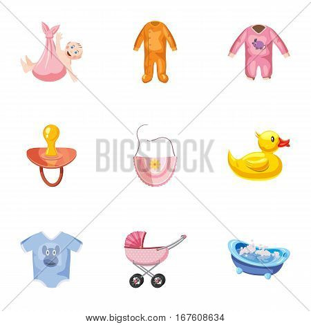 Baby icons set. Cartoon illustration of 9 baby vector icons for web