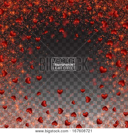 Vector frame of falling small sparkling red hearts on Effect transparent background. Love Decor Festive Bright Glitter Placer. Beautiful Design Element