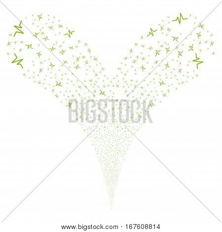 Pulse fireworks stream. Vector illustration style is flat eco green iconic symbols on a white background. Object double fountain made from random pictograms.