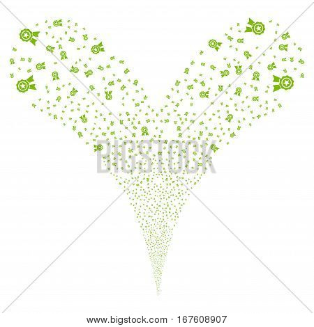 Quality fireworks stream. Vector illustration style is flat eco green iconic symbols on a white background. Object double fountain done from random symbols.