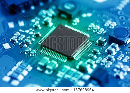 Close-up electronic circuit board. technology style concept.