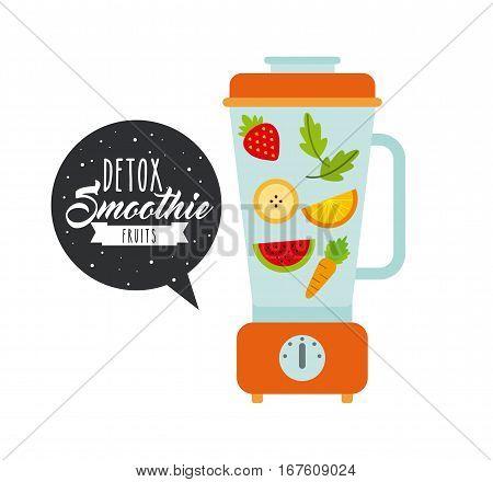 blender with fruits over white background. colorful design. vector illustration