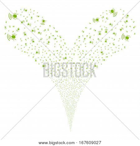 Radio Bug fireworks stream. Vector illustration style is flat eco green iconic symbols on a white background. Object double fountain done from random design elements.
