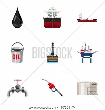 Fuel icons set. Cartoon illustration of 9 fuel vector icons for web